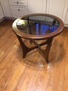 MCM Wooden Glass Round Side Table