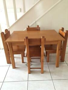 Kids Wooden Table & 4 Chairs
