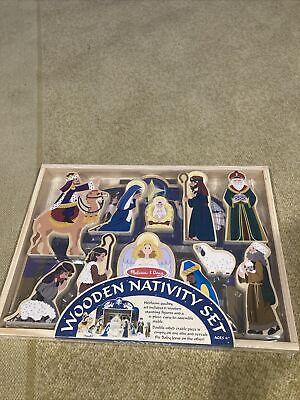 Melissa Doug Classic Wooden Christmas Nativity Set #3858
