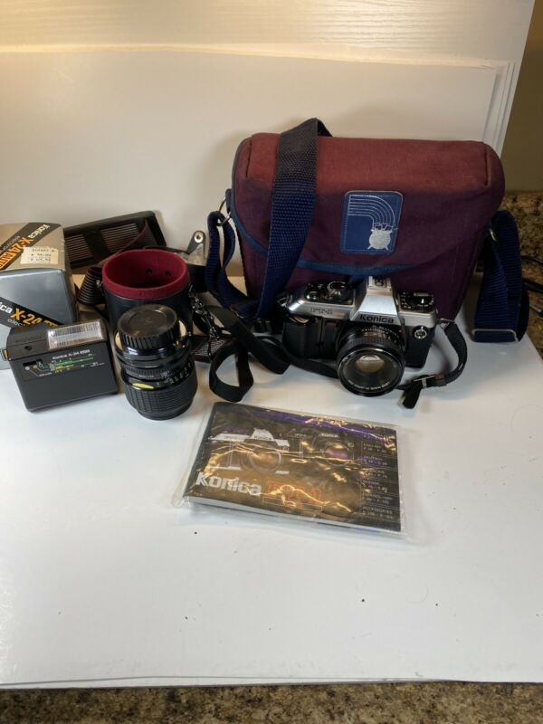 Konica FT-1 Camera With 2 Lens X-24 Flash And Cases Bundle