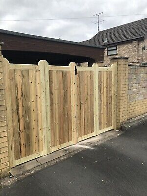 Tanalised Wooden Bi-folding Driveway Gates  11ft wide X 5ft high