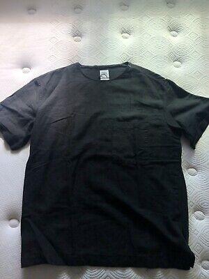 Zara Mens Black Linen Blend Short Sleeve T Shirt Size Large