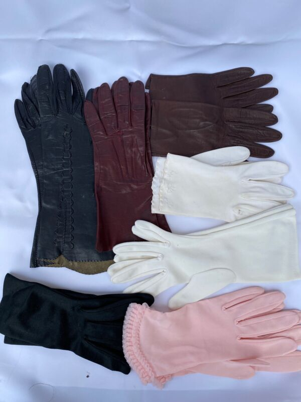 Vintage Mid Century Lot 7 Pr Small Ladies Gloves 3 Leather, 4 Nylon/Tricot