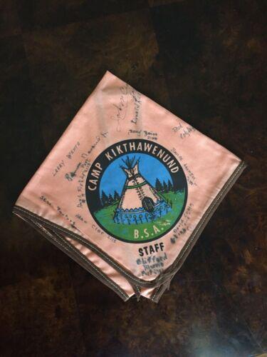 Vintage BSA Neckerchief, Staff, Camp Kikthawenund, Indiana, Signed