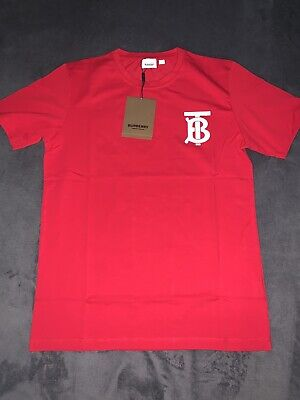 Burberry Mens Red Tshirt Brand New With Tags Logo Size Small Medium Large XL XXL