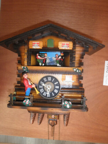 German made working SEE VIDEO musical Chalet Trumpeter 1 Day Cuckoo Clock CK2496