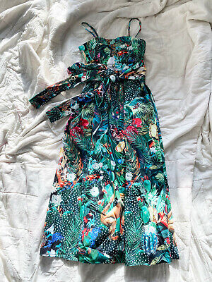 Dolce & Gabbana jungle print maxi dress with ties 38 S