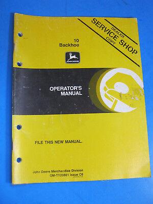 John Deere 10 Backhoe Operators Manual Oem Original