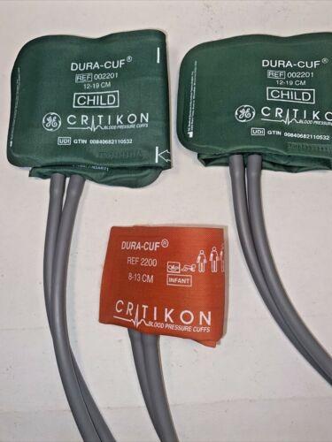 Lot of 3 Blood Pressure DURA CUFS, 2 Child & 1 Infant Cuff, w/ Dual Connectors,