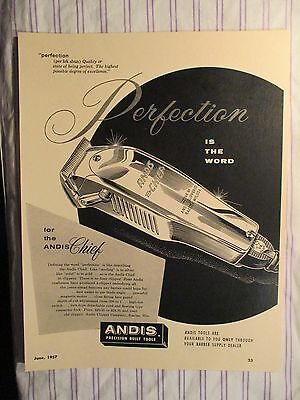 Vintage Barbershop Perfection Andis Chief Sign Ad