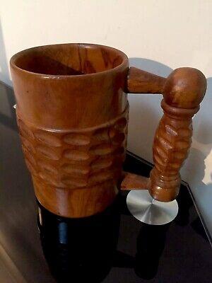 Vintage Hand Carved and Turned Wood Beer Tankard Stein Mug Mid Century Modern