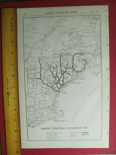 1917 MAINE CENTRAL RAILROAD CO. SYSTEM MAP DEPOTS TOWNS MC RR HISTORY