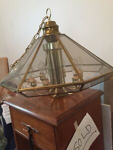 Glass and brass hanging lamps (2 left)/15$ ea.