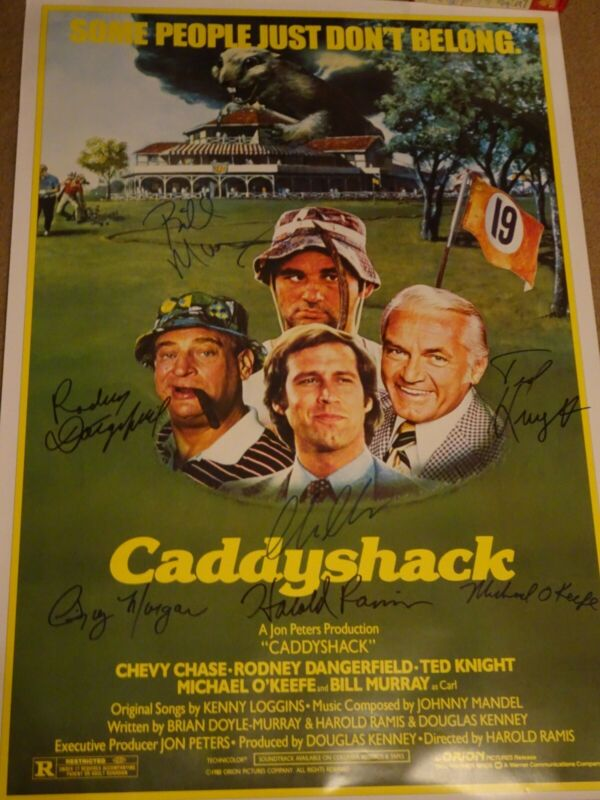 Caddyshack Signed Movie Poster 7 sigs! COA autographed w/ Dangerfield & Knight!!