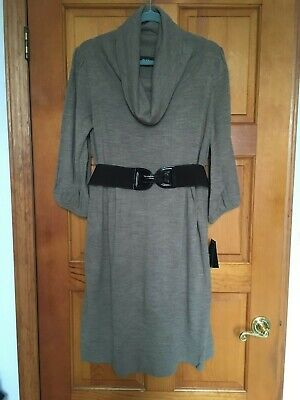 Brown Belted Pullover (NWT Alyx 3/4 sleeve belted pullover knit dress XL brown MRSP $70.00)