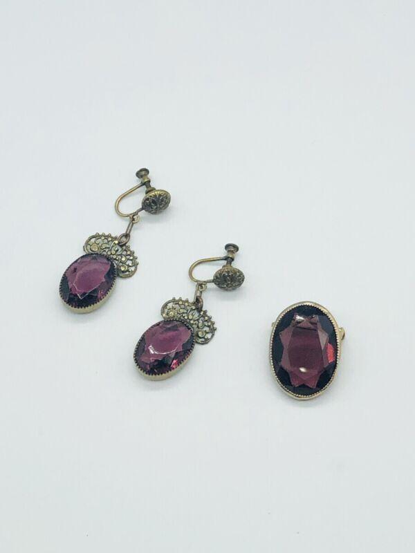 Rare Vtg Oval Faceted Purple Amethyst Dangle Filigree Earrings Pin Brooch Set