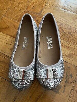 Salvatore Ferragamo Girl Glitter Sparkle Silver Ballerina Flats Shoes 29 12