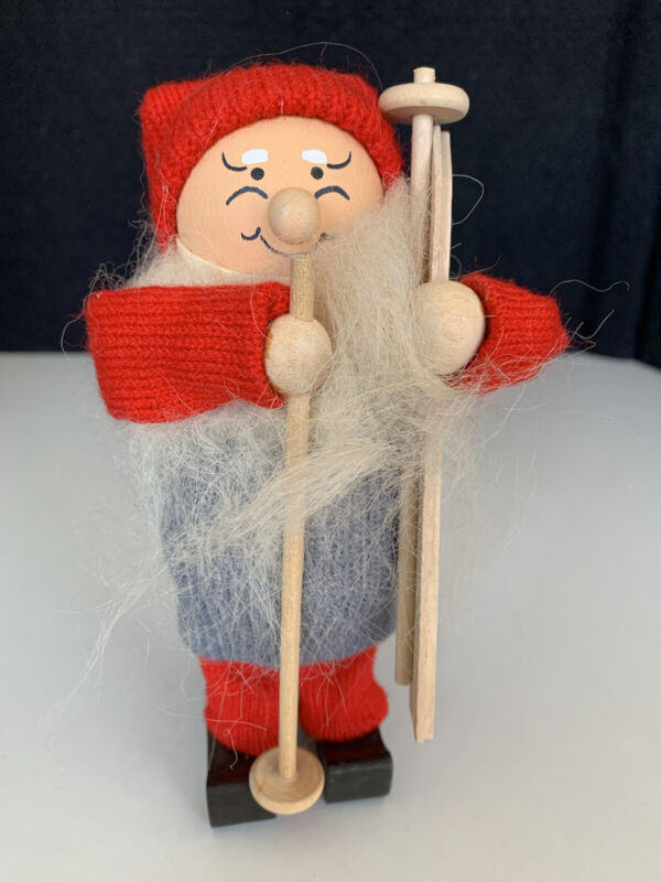 Vintage Christmas SWEDISH Elf Tomte Gnome Skier SKI Santa Wood Figure Figurine