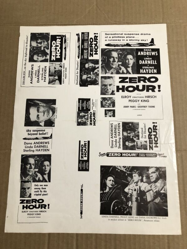 ZERO HOUR! - Vintage 1957 Press Kit Ad Advertising Supplement Page