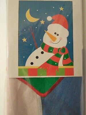CLR Winter Snowman in Santa Hat, Stars & Moon decorative applique HOUSE flag