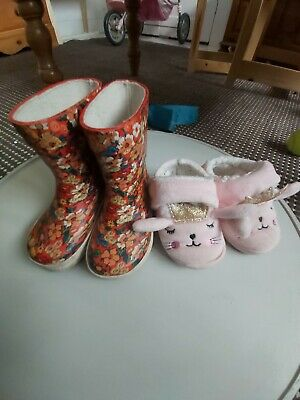 Girls Infant Size 5 Shoes Wellies Sleepers Bundle for sale  Shipping to South Africa