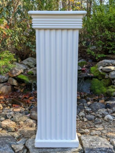 "36"" Roman Pillar Greek Column Pedestal Sculpture Art Object Stand Oak White"