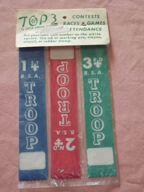 VINTAGE BSA BOY SCOUTS TOP 3 SATIN AWARD RIBBONS RACES GAMES CONTESTS UNOPENED