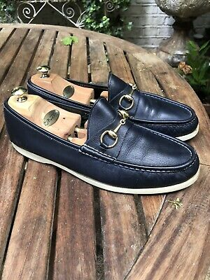 Amazing Condition Rare Navy Genuine Horsebit Gucci Loafer Boat Shoes Men's UK10