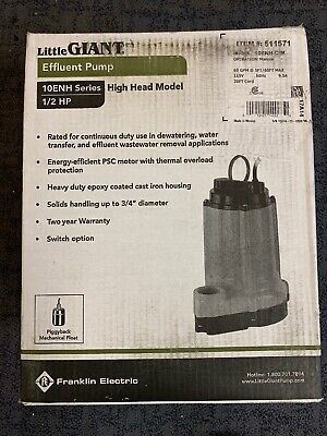 20 Cord Franklin Electric 511571 Model 10Enh-Cim Series Effluent Pump 115V