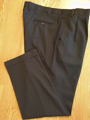 LAUREN RALPH LAUREN DRESS PANTS BLUE CHECK 100% WOOL PLEATED CUFFED 40 X 32