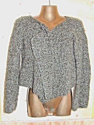 Superbe pull / gilet avec broche tricote main phildar mohair melange taille 36
