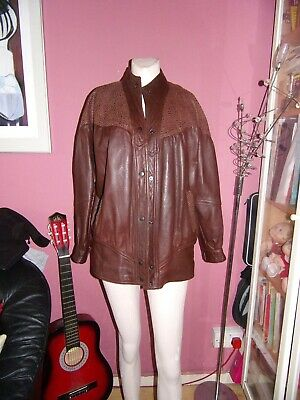 vintage 80s-90s brown blouson oversized leather jacket size Medium
