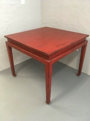 "Bausman Furniture Co. distressed Red Finish 36"" Square Dining or Game Table (Cherry Dining Room Game Table)"