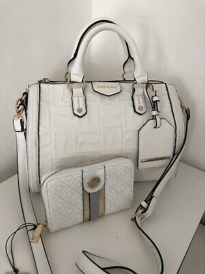 RIVER ISLAND White RI Embossed Bowler Bag BNWT WITH MATCHING PURSE
