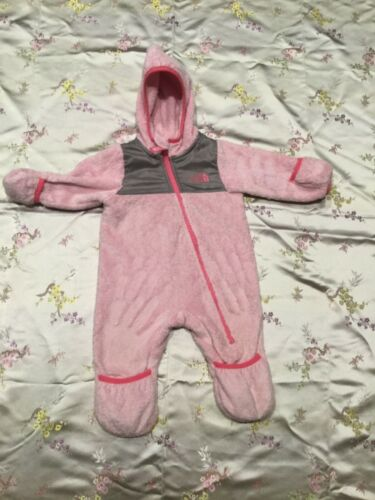 THE NORTH FACE GIRLS PINK FLEECE 3-6 MONTH BUNTING SNOWSUIT