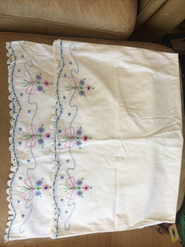 Vintage Embroidered Pillowcases Blue/Pink Flower with Blue Crochet Trim Edge x 2
