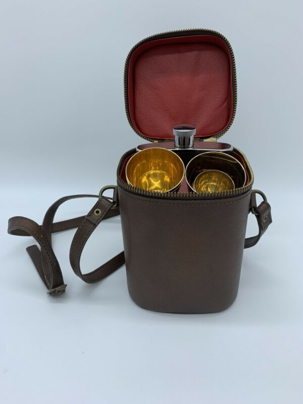 Vintage Stainless Steel Flask 8 oz With Zippered Bag Brown England
