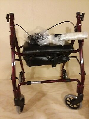 Drive Medical 510 Mimi Lite Push Brake Walker Rollator Red   28A