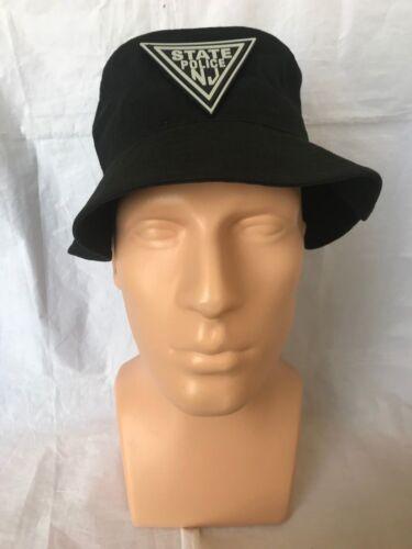 NJSP New Jersey State Police Black Bucket Hat w PVC NJSP PATCH OSFA