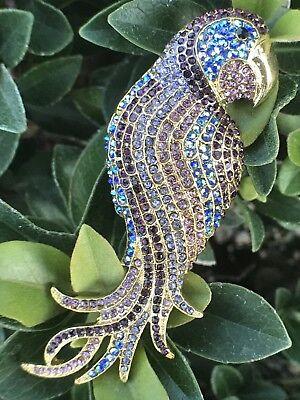 (Large Parrot Bird Crystal Rhinestone Pin Brooch Blue Purple Rhinestones Vintage)