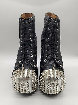 Jeffrey Campbell Lita Crown Extreme Silver Spike Quilted Boots US6.5 UK4