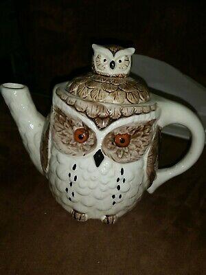 Enesco Owl Ceramic Tea Pot 1980 Halloween party decor NM