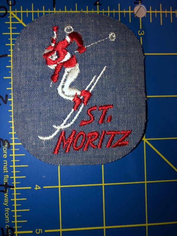 Vintage St. Moritz Denim Jeans Patch Saint Skiing Skier Switzerland Alpine Town