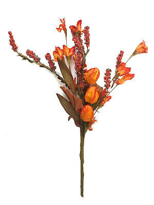 Autumn Orange Flower Buds Berries Fall Pick Tree Wreath Table Floral Decor R