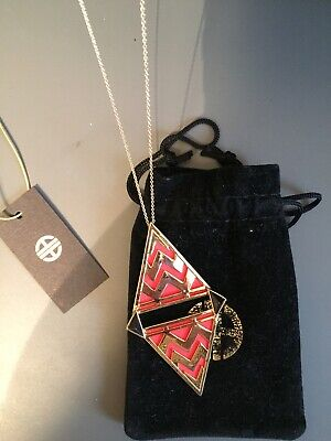 House of Harlow Gold Plated Long Aztec Pendant Necklace