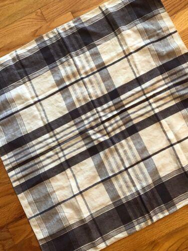 "Antique French 19th c. menswear linen plaid handkerchief deep purple, 26"" square"
