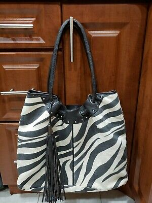 Chicos Large Slouchy Leather & Jute Tote ~Zebra print ~ lined~studs & tassle EUC