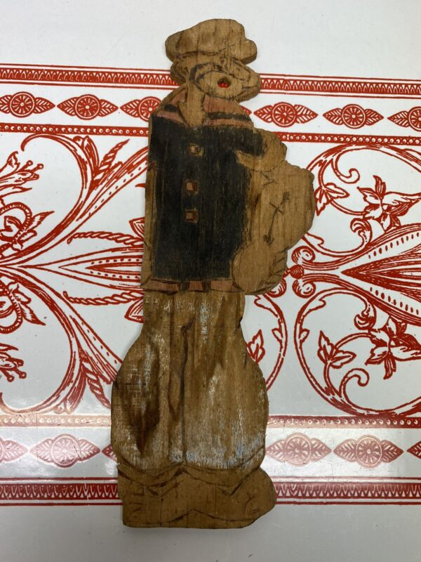 Vintage Wood Popeye Folk Art Figure
