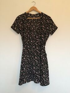 M Black and Floral Wrap Dress