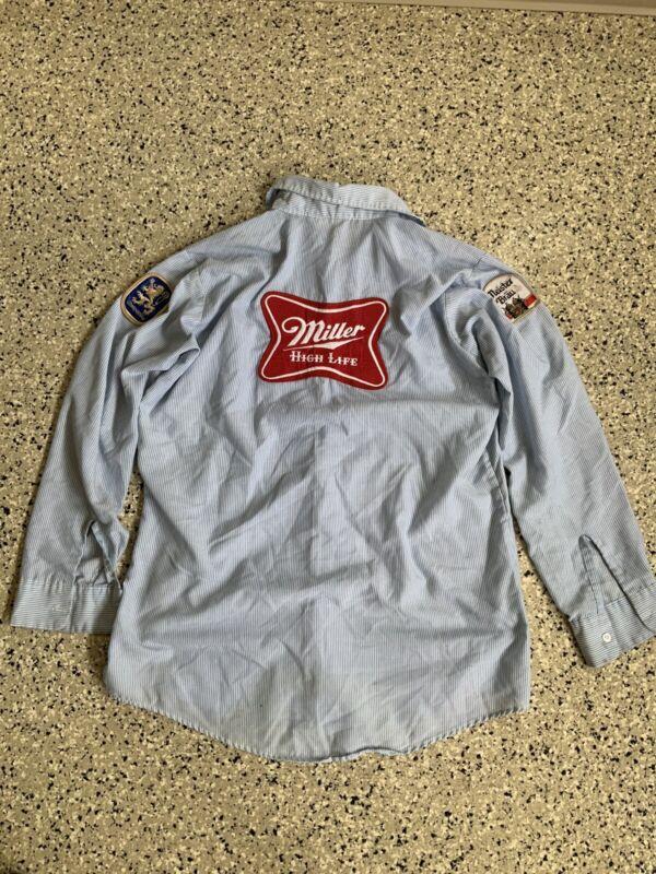 Vintage Miller High Life Beer delivery uniform Lite striped Patch USA L